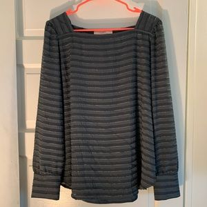 NWT LOFT square neck textured long sleeve top